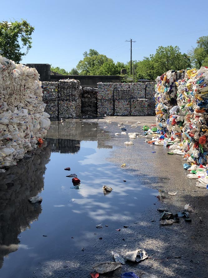 Bales of plastics in recycling area